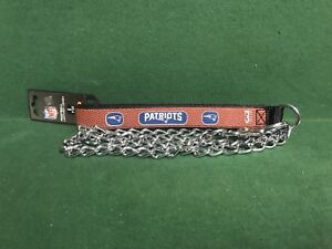 NFL 🏈 New England Patriots Football Leather Strap Chain Leash Dog/Cat🐾 Large