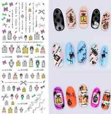 Perfume Black Bows Ribbons Dots Water Transfers Nail Art Stickers Decals