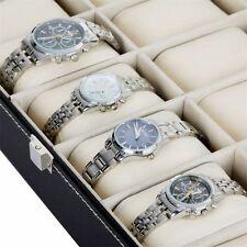 12 Slots Grid PU Leather Watch Display Box Jewelry Storage Organizer Case AGqw