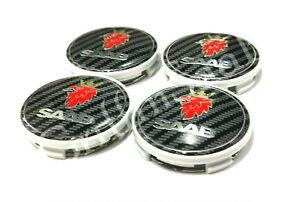 4 X Saab Carbon Fibre Alloy Wheel Centre Caps 62mm 63mm 93 9-3 95 9-5 900 9000