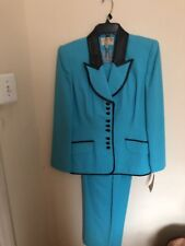 Alberto Makali Long Blazer With Leather Trim Pants Suit Bright Blue Color Size 8
