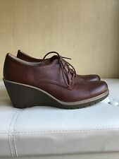 Womens Ecco Brown Leather Lace Up Wedge Shoes Size 38 Uk 5