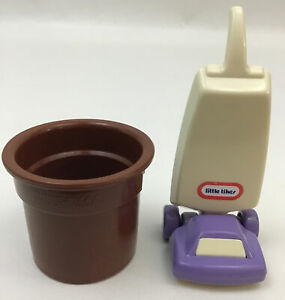 Little Tikes Dollhouse Brown Rubbermaid Roughneck Trash Can And Vacuum Vintage