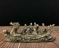 Collect Chinese feng shui Bronze copper 8 immortals on Dragon Ship Boat statue