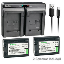 Kastar NP-FH50 Battery + Charger for Genuine Sony NPFH50 NPFH30 Lithium Handycam