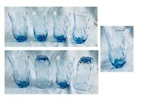 Vintage Anchor Hocking Drinking Glass Tumblers 16 oz Blue SWIRL Set of 4