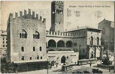 1927 Bologna - Palazzo Re Enzo e Fontana del Nettuno, tram - FP B/N VG ANIM