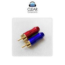 2x cinch conector rojo + azul cinchstecker RCA plugs-de colores-doradas-gama alta