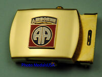 "82nd AIRBORNE DIVISION Army black Web Belt &  brass buckle ""All American"""