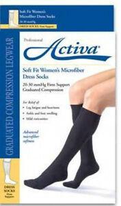 Activa Women Dress Compression Socks 20-30 mmhg Supports Microfiber Medical Soft