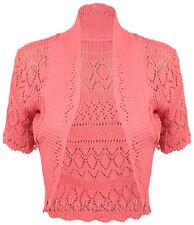 New Ladies Crochet Knit Bolero Shrug Womens Short Sleeve Cardigan Top Size 16-20