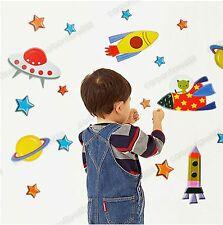 Space Ship Rocket UFO Alien Children Wall Stickers Kids Bedroom Decor Art Decal