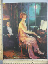 Rare Antique Original VTG Lady Playing Piano By Full Moonlight Litho Art Print