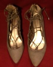 Bcbgirls 7.5 Tan Beige Ballet Flats Lace Up Fairy Faux Suede Sexy WORN ONCE HOT