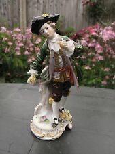 VINTAGE CAPODIMONTE FIGURINE PORCELAIN FIGURINE  HAND PAINTED WITH GOLD&FLOWERS