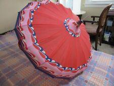 Vintage 1960's groovy pink, red, blue print pagoda umbrella