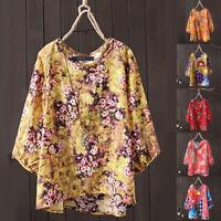 Mode Femme T-shirt Belle Floral Demi Manche Col Rond Imprimé chemise Haut Plus
