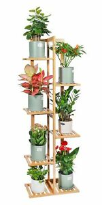 Bamboo Plant Stand Rack 6 Tier 7 Potted Indoor&Outdoor Multiple Stand Holder ...