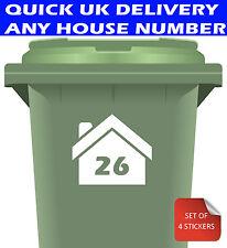 Wheelie Bin Numbers Stickers Personalised Custom Street Number 4 Pack White
