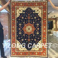 Yilong 4'x6 Kilim Handmade Wool Silk Rug Living Room Blanket Woollen Carpet 2040