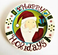 Pier 1 Happy Holidays Hand Painted Dolomite Plate Whimsy Santa Holding Gift