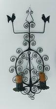 Vintage Artisan Forged Wrought Iron 2x Candle Holder Sconce Black Bird Swirl EUC