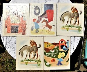 FIVE VINTAGE CHILD PLAYSKOOL TRAY PUZZLES FARM AND HORSE