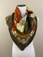 PICASSO Silk Large Brown Gold Green Orange Scarf  40 in x 40 in