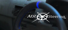 FOR VAUXHALL OMEGA B 94-03 BLACK LEATHER STEERING WHEEL COVER + ROYAL BLUE STRAP