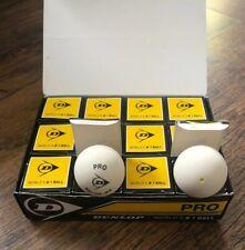 DUNLOP Pro Squash Balls WHITE Single YELLOW Dot 1 Dozen