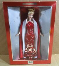 Barbie Doll Celebrates Holiday 2000 Red Silver Gown Blonde Collector Edition NEW