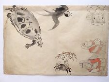 Original Painting  by HASEGAWA  Japanese Antique Paintings animal and kids