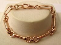 GENUINE SOLID 9K 9ct ROSE GOLD BELCHER ALBERT BRACELET with SWIVEL CLASP