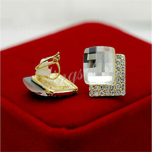 18k Yellow Gold Filled Hypo-Allergenic Crystal Square Clip-on Earrings Z287