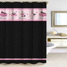 Glamour Girl Shower Curtain 70x72 Black White Polka Dot Pink Purse Shoes  Perfume
