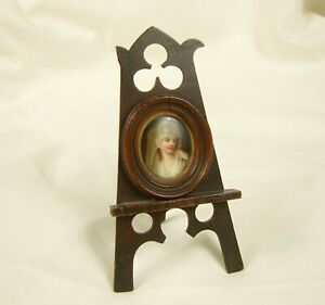 Antique Portrait Miniature Framed and Mounted on Miniature Easel