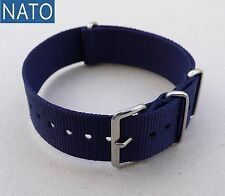 BRACELET MONTRE NATO 22mm (bleu navy) compatible Seiko Lip Submariner Yema Ebel
