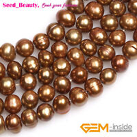 Freeform Potato Red Lime Bronze Blue Freshwater Pearl Jewelry Making Beads 15""
