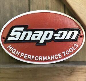 NEW LARGE 28cm Cast iron SNAP ON TOOLS SIGN, spanner workshop, garage, man cave