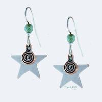 Earth Dreams SILVER STAR with Copper Swirl EARRINGS Sterling Silver Dangle - Box