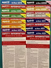 12 SPIRIT AIRLINES SAFETY CARDS SET