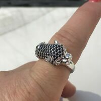 Sterling Silver Sapphire & Diamond Panther Ring