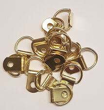 20 Quality Brass Plated Small D Rings - Picture Framing Photo Hook Hanging Art