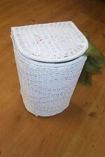 Wäschekorb aus Rattan neu mit Futter Farbe weiß halbrund