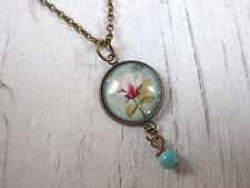 Halskette lang - Magnolie - Kette mit Medaillon türkis Dirndl shabby chic