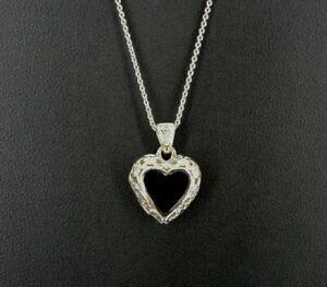Necklace Silver Black Onyx Stones Filigree Look Petite Locket Sterling Pendant