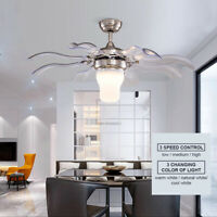 """42"""" Modern Chandelier Ceiling Fan With Light Invisible 8 Blades 3 Color Change"""