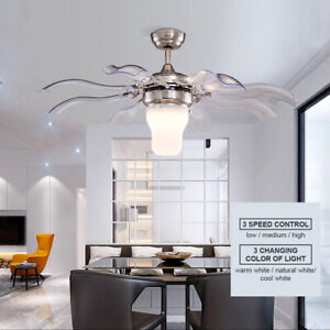 "42"" Modern Chandelier Ceiling Fan With Light Invisible 8 Blades 3 Color Change"