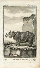 1769 RHINOCEROS Antique Copper Plate Engraving Print BUFFON