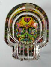 Glow in The Dark Sugar Skull Glass Ashtray Very Cool Multicolor R5